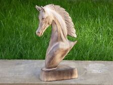 Horse Head Wooden Carving Ornament Statue Bust 30cm.....