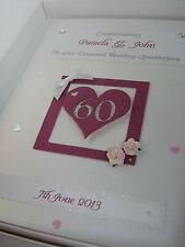 Personalizzato Diamante sessantesimo anniversario di nozze Carta, cristalli SWAROVSKI, inscatolato
