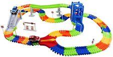Race Car Track Set 240 Pieces Twisted Flexible Building ToyTracks 2 Cars 1109