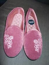 M&S Terciopelo Lavable a Máquina Bordado Floral Zapatillas UK7 EU40.5 Heather BNWT