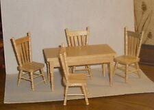 Tisch mit 4 Stühlen in buche -  Miniatur 1:12,  Puppenhaus  7