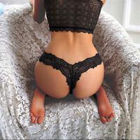 Women Seamless G-string Briefs Panties Thongs Lace Black Underwear Knickers