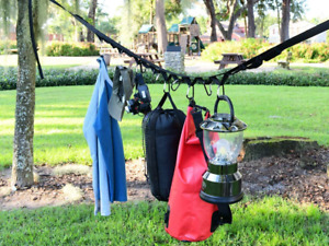 Campsite Storage Strap Separated Loops Hanging Camping Equipment Carabiner Hooks