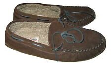Minnetonka Men's Camp Moccasins Brown Suede Slippers Shoes Leather size 13
