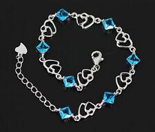 Unusual Solid 925 Sterling Silver, Heart Blue Topaz Bracelet / Bangle + box