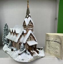 More details for rare ltd ed thomas kinkade hawthorne christmas village 'light of hope church'coa