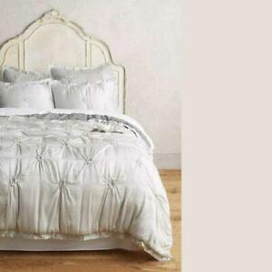 Anthropologie Pillow Shams Gathered Silk Grey Standard Queen