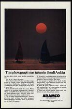 1981 Sailboats In SAUDI ARABIA at Sunset - ARAMCO Oil Company VINTAGE AD