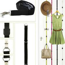 Black Over Door Straps Hanger Cap Clothes Coat Rack Bracket Adjustable 7 Hooks