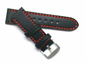 26mm Black/Red HQ Leather Replacement Men's Watch Strap - Invicta 26 & Others