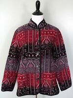 DRAPERS & DAMONS Womens Black Red Floral Knit Button Front Coat Jacket Sz Large