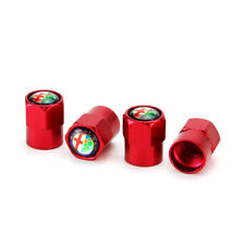 4x Red Metal Car Logo Wheel Tire Air Valve Stems Caps Dust Covers For Alfa Romeo