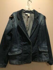 Venezia Women's Distressed Denim Jean Jacket Plus Size 18/20 Orig $80