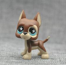Littlest Pet Shop LPS Brown Great Dane Dog Puppy Blue Dot Eyes Toy #817 Xmas