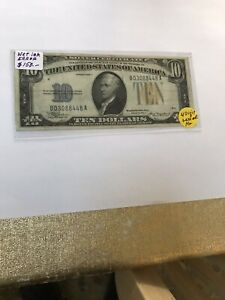1934-A North Africa Silver Certificate W/ 4 Digit Serial Wet Ink Transfer Error.
