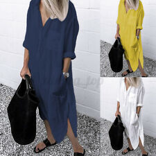 Women Button Down Long Sleeve Shirt Dress Casual Loose Solid Maxi Sundress Plus