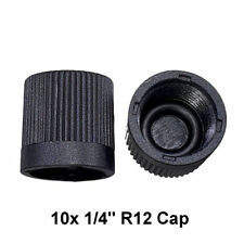"""10x A/C Charge Port Service Cap Black 1/4"""" R12 With O-Ring Fit MT0060"""