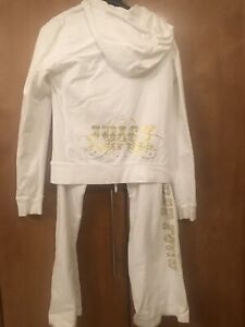 Juicy Couture White & Gold Crystal trust fund  tracksuit set pants & hoodie M, L