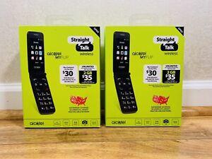 Lot Of 2 New NIB Alcatel My Flip MyFlip Prepaid Cell Phone Straight Talk Burner