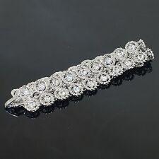 VH41 Clear Austrian Crystal 18K WGP Flowers Bracelet Fashion Party Gift