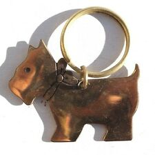NOS 1970'S Gold Color Scottie Dog Key Ring Key Chain by RUSS - Scottish Terrier