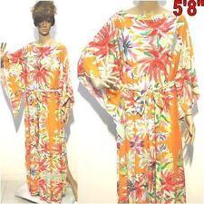 NWT 2X 3X 4X NEW Women Orange Floral Kimono Kaftan Round Neck Elegant Maxi Dress