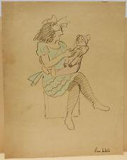 Dessin Ancien Crayon  PIERRE SUBTIL Jeune Fille à la Poupée Reims vers 1920 PS32