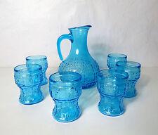 Carafe pichet service orangeade verre bleu épais Vintage