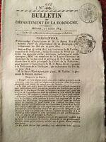 Dordogne en 1814 Baron Rivet Légion d'Honneur Journal Empire