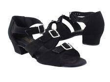 Women's West Coast Swing Dance Shoes Size 7 low Heel 1.5 Black Nubuck 1679