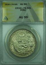 1916-L,FG Peru ANACS AU 55 Raised Libertad 1 Sol Silver Coin KM#196.24 Type XI