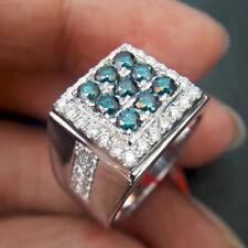 2 carat blue aquamarine men ring father band husband hubby 14k white gold filled