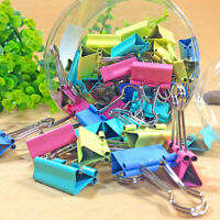 PW_ 1 Tub Assorted Color Metal Paper Clamps Document File Ticket Binder Clips