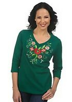 Quacker Factory 3/4 Sleeve Holiday Corsage V-neck T-shirt Sz S 1X 2X B0080RM