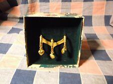 Vintage Scarf Slide Holder Heart Motif Gold Tone 2 3/4 Inch Wide