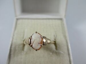 PRETTY VINTAGE c1950's 9ct GOLD CARVED SHELL CAMEO RING, SIZE M1/2