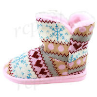 New girl's kids winter boots casual shoes pull up faux fur pink white blue warm