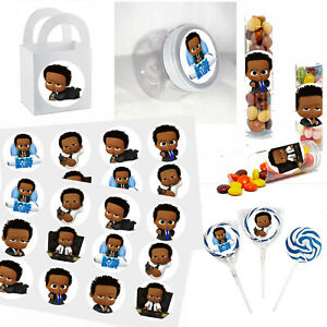"""Black Baby Boy Stickers, 24 DIY Labels 1.67"""" African American Shower Favors"""