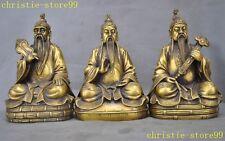 "10""Chinese pure Bronze Taoism Tai Shang Lao Jun Moral immortal Buddha Statue set"