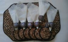 6 Handmade Weave Wicker Design Brown Placemats cloth napkin+shell holder+coaster