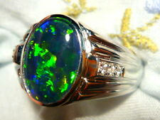 Mens Opal Ring Sterling Silver Natural Opal Triplet 13x9mm Oval item 90457.