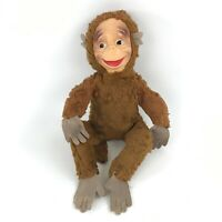 "Vintage Monkey Chimp Plush Doll Toy Vinyl Rubber Face Brown Stuffed Animal 14"" L"