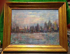 """HELEN S BARTH (1920-2012) """"New York at Twilight"""" Oil Painting Abstract Modern"""