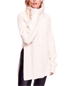 Free People Womens Eleven Turtleneck Knit Sweater, Off-White, X-Small