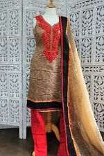 beige & red churidaar kameez - Size UK  10/ EU 36 – preloved SKU15880