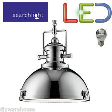 SEARCHLIGHT 2297CC LED 5.9W LIGHT INDUSTRIAL PENDANT CHROME CLEAR ACRYLIC LENSE