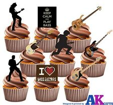 BASS/Rock Guitar Party Pack - 36 Divertente completamente COMMESTIBILE CUP CAKE TOPPER DECORAZIONI