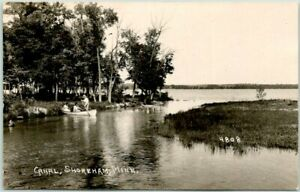 "SHOREHAM, Minnesota RPPC Real Photo Postcard ""CANAL"" Boating Scene c1930s Unused"