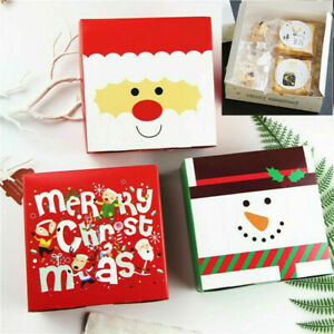5/10pcs Christmas Gift Boxes Party Favours Sweet Biscuit Candy Treat Paper Pack