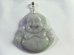 NATURAL LAVENDER JADE CHINESE FENG SHUI HAPPY BUDDHA PENDANT 925 Sterling Silver